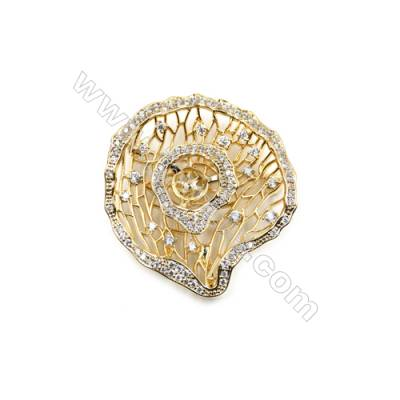Brass Micro Pave Cubic Zirconia Brooch  Golden    44x41mm  Tray 6mm  Pin 0.8mm  x1pc can inlay half-drilled beads