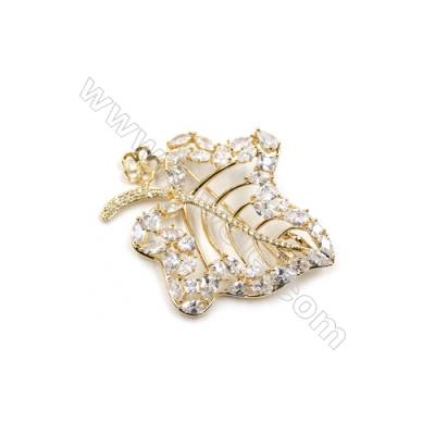 Brass Micro Pave Cubic Zirconia Brooch  Golden  Maple leaf  53x45mm  Tray 8mm  Pin 1mm  x1pc can inlay half-drilled beads