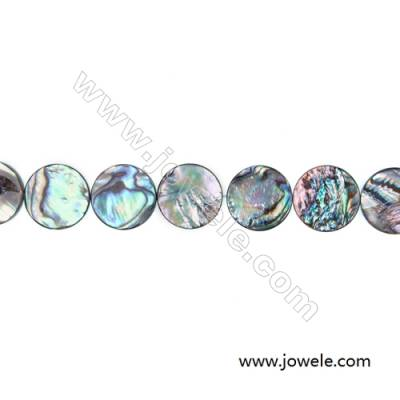 Abalone Shell Bead Strand, Flat Round, Diameter 18 mm, Hole 0.8 mm, About 22 beads/strand, 15 ~ 16 ""