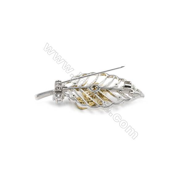 Brass Micro Pave Cubic Zirconia Brooch  Little bee inlay on a leaf  Gold and White Gold  24x51mm  x1pc