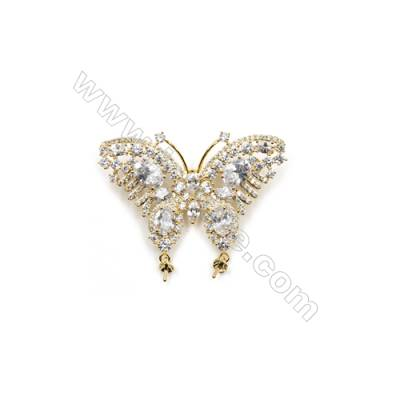 Brass Micro Pave Cubic Zirconia Brooch  Golden  Butterfly  46x30mm  Tray 3mm  Pin 1mm  x1pc can inlay half-drilled beads