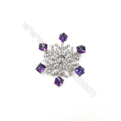 Brass Micro Pave Cubic Zirconia Brooch  White Gold  Snowflake  40x47mm  Tray 8mm  Pin 0.9mm  x1pc can inlay half-drilled beads