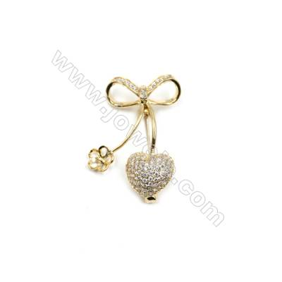 Brass Micro Pave Cubic Zirconia Brooch  Golden  Bowknot  43x34mm  Tray 8mm  Pin 0.9mm  x1pc can inlay half-drilled beads