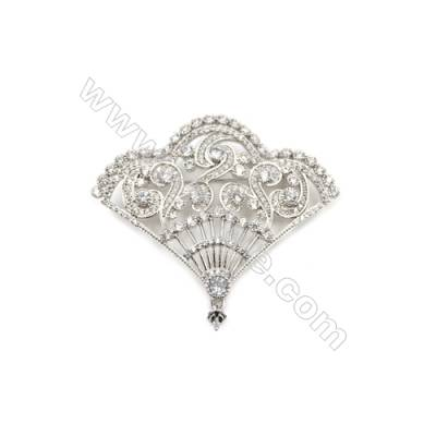 Brass Micro Pave Cubic Zirconia Brooch  White Gold  Fan  40x51mm  Tray 4mm  Pin 0.9mm  x1pc can inlay half-drilled beads