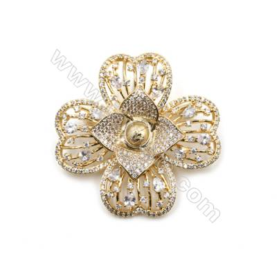 Brass Micro Pave Cubic Zirconia Brooch  Golden  Clover  39x43mm  Tray 6mm  Pin 0.8mm  x1pc can inlay half-drilled beads