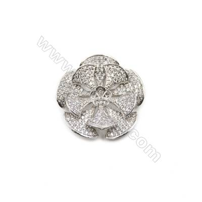 Brass Micro Pave Cubic Zirconia Brooch  Golden  Petunia  36x37mm  Tray 8mm  Pin 0.9mm  x1pc can inlay half-drilled beads