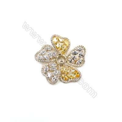Brass Micro Pave Cubic Zirconia Brooch  Golden  Flower  50x50mm  Tray 8mm  Pin 1mm  x1pc can inlay half-drilled beads