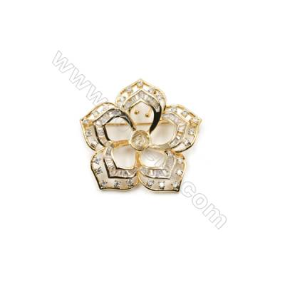 Brass Micro Pave Cubic Zirconia Brooch  Golden  Flower  38x40mm  Tray 6mm  Pin 0.9mm  x1pc can inlay half-drilled beads