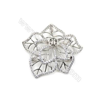 Brass Micro Pave Cubic Zirconia Brooch  White Gold  Flower  44x49mm  Tray 8mm  Pin 0.7mm  x1pc can inlay half-drilled beads