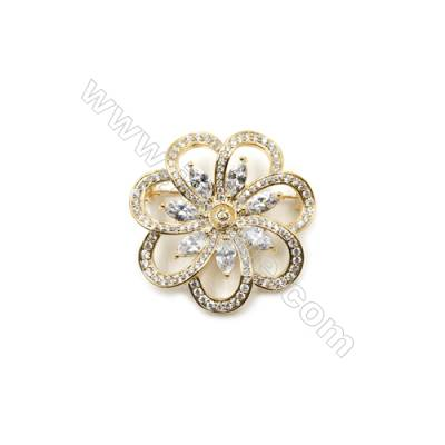 Brass Micro Pave Cubic Zirconia Brooch  Golden  Flower  40x40mm  Tray 5mm  Pin 0.9mm  x1pc can inlay half-drilled beads