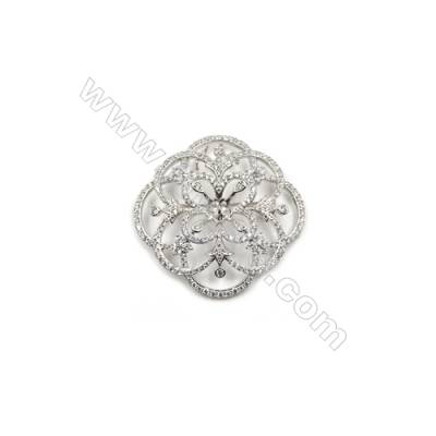 Brass Micro Pave Cubic Zirconia Brooch  White Gold  Flower  45x46mm  Tray 6mm  Pin 0.8mm  x1pc can inlay half-drilled beads