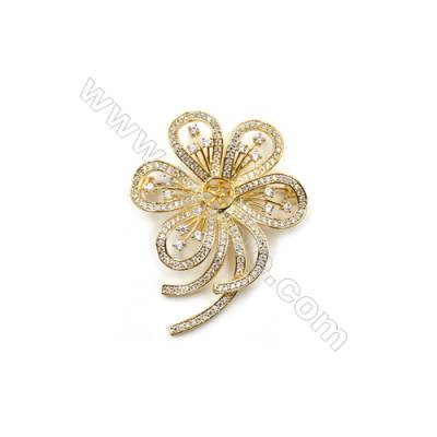 Brass Micro Pave Cubic Zirconia Brooch  Golden  Flower  50x39mm  Tray 6mm  Pin 0.7mm  x1pc can inlay half-drilled beads
