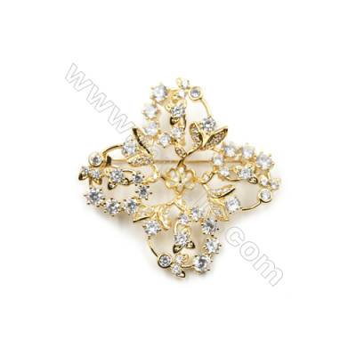 Brass Micro Pave Cubic Zirconia Brooch  Golden  Flower  38x37mm  Tray 6mm  Pin 0.8mm  x1pc can inlay half-drilled beads