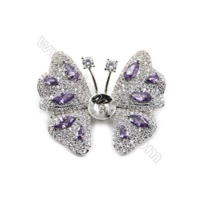 Brass Micro Pave Cubic Zirconia Brooch  White Gold  Butterfly  45x37mm  Tray 10mm  Pin 0.9mm  x1pc can inlay half-drilled beads
