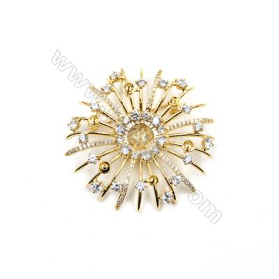 Brass with Zircon Brooch Golden Flower Diameter 49mm Large tray 7mm Small tray 3mm Pin 0.9mm  x1pc  can inlay half-drilled beads