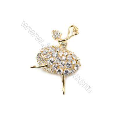 Brass Micro Pave Cubic Zirconia Brooch  Golden  Dancer  38x62mm  Tray 5mm  Pin 0.7mm  x1pc can inlay half-drilled beads