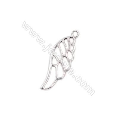 Sterling silver charms hollow wing necklace pendant findings -D06S11  size 27x9x1.2mm hole 1.4mm 20pcs/pack