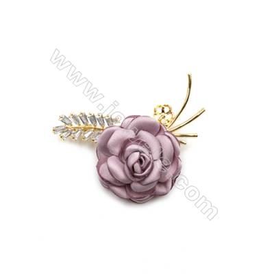 Brass Micro Pave Cubic Zirconia Brooch  Golden  Rose  52x62mm  Tray 8mm  Pin 1.2mm  x1pc can inlay half-drilled beads