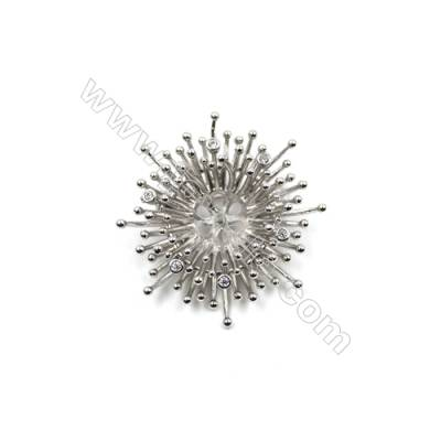 Brass Micro Pave Cubic Zirconia Brooch  White Gold  Snowflake  38x40mm  Tray 9mm  Pin 0.9mm  x1pc can inlay half-drilled beads