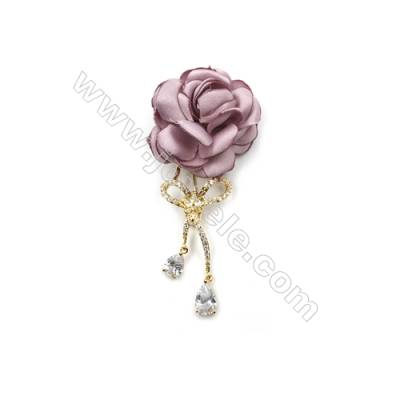 Brass Micro Pave Cubic Zirconia Brooch  Golden  Rose  76x34mm  Tray 6mm  Pin 0.8mm  x1pc can inlay half-drilled beads