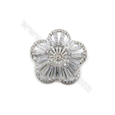 Brass Micro Pave Cubic Zirconia Brooch  White Gold  Flower  35x36mm  Tray 4mm  Pin 0.8mm  x1pc can inlay half-drilled beads