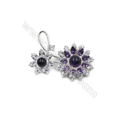 Flower Brass Safety Brooches  with Zircon  White Gold  47x55mm  Tray 8mm  Pin 0.8mm  x1pc can inlay half-drilled beads