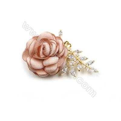 Brass Micro Pave Cubic Zirconia Brooch  Golden  Rose  62x45mm  Tray 7mm  Pin 1.1mm  x1pc can inlay half-drilled beads