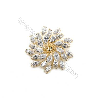Brass Micro Pave Cubic Zirconia Brooch  Golden  Flower  Diameter 48mm  Tray 6mm  Pin 1mm  x1pc can inlay half-drilled beads