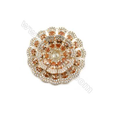 Brass Micro Pave Cubic Zirconia Brooch  Golden  Flower  Diameter 46mm  Tray 7mm  Pin 0.9mm  x1pc can inlay half-drilled beads
