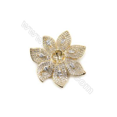 Brass Micro Pave Cubic Zirconia Brooch  Golden  Flower  Size 43x43mm  Tray 9mm  Pin 0.7mm  x1pc can inlay half-drilled beads
