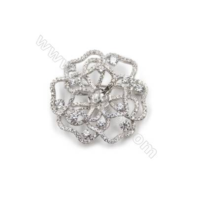 Brass Micro Pave Cubic Zirconia Brooch  White Gold  Flower  40x41mm  Tray 8mm  Pin 0.8mm  x1pc can inlay half-drilled beads