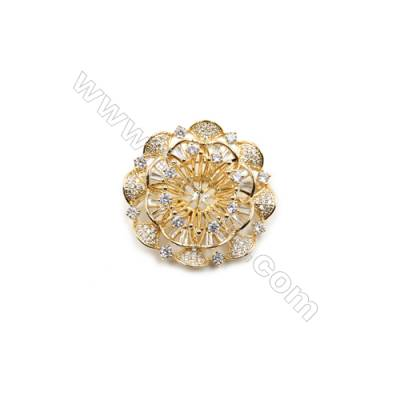 Brass Micro Pave Cubic Zirconia Brooch  Golden  Flower  Diameter 43mm  Tray 8mm  Pin 0.8mm  x1pc can inlay half-drilled beads