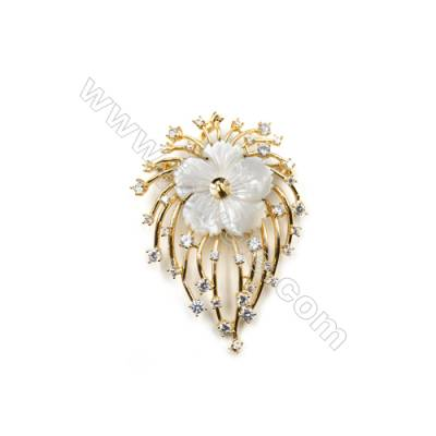 Brass Brooch with Zircon and Shell  Golden  Flower  Size 56x41mm  Tray 5mm  Pin 1mm  x1pc can inlay half-drilled beads