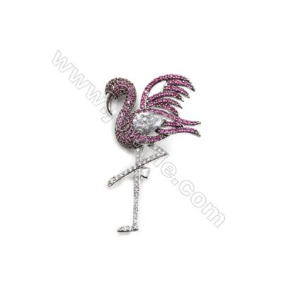 Brass Micro Pave Cubic Zirconia Brooch  White Gold  Flamingo  Size 31x52mm  x1pc