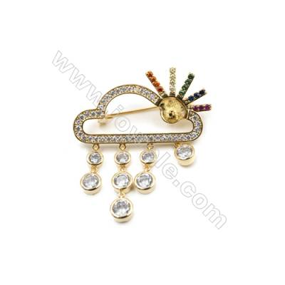 Brass Micro Pave Cubic Zirconia Brooch  Golden  Cloud  49x43mm  Tray 6mm  Pin 0.8mm  x1pc can inlay half-drilled beads