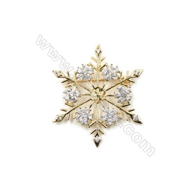 Brass Micro Pave Cubic Zirconia Brooch  Golden  Snowflake  42x47mm  Tray 8mm  Pin 0.7mm  x1pc can inlay half-drilled beads