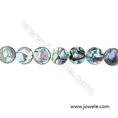 Abalone/Paua Shell Smooth Bead Strands, Flat Round, Diameter 16 mm, Hole 0.8 mm, About 25 beads/strand, 15 ~ 16 ""