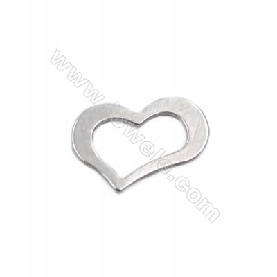 Heart shape sterling silver jewelry charms 12x8x0.6mm 100pcs/pack