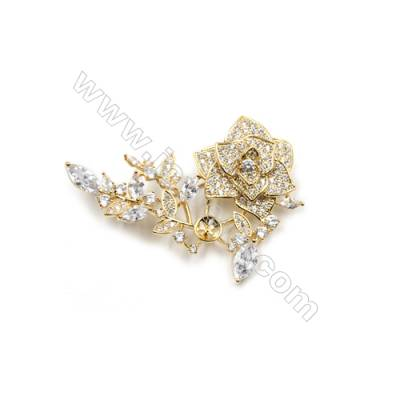 Brass Micro Pave Cubic Zirconia Brooch  Golden  Flower  Size 51x49mm  Tray 5mm  Pin 0.9mm  x1pc can inlay half-drilled beads