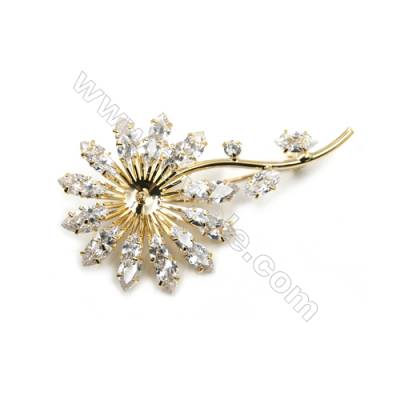 Brass Micro Pave Cubic Zirconia Brooch  Golden  Flower  Size 70x40mm  Tray 7mm  Pin 0.8mm  x1pc can inlay half-drilled beads