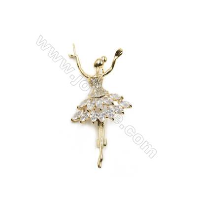 Brass Micro Pave Cubic Zirconia Brooch  Golden  Dancer  Size 70x33mm  Tray 5mm  Pin 1mm  x1pc can inlay half-drilled beads