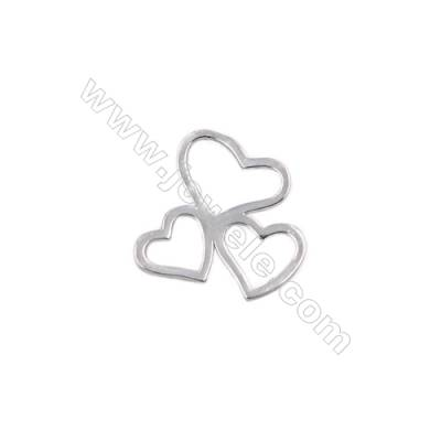 Heart-shape sterling silver charms for jewelry making-D06S14  size 19x19x1.0mm 20pcs/pack