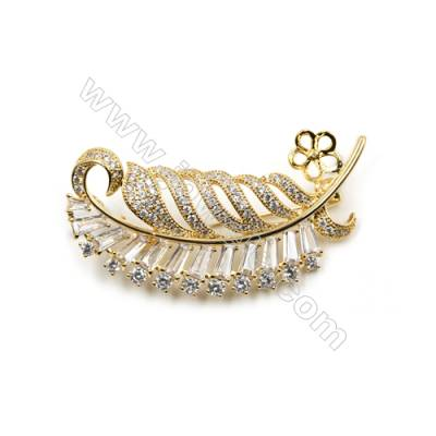 Brass Micro Pave Cubic Zirconia Brooch  Golden  Leaf  54x28mm  Tray 9mm  Pin 0.9mm  x1pc can inlay half-drilled beads