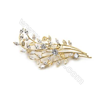 Brass Micro Pave Cubic Zirconia Brooch  Golden  Branches  71x44mm  Tray 6mm  Pin 0.9mm  x1pc can inlay half-drilled beads