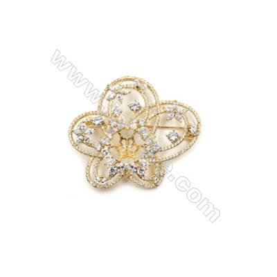 Brass Micro Pave Cubic Zirconia Brooch  Golden  Flower  48x44mm  Tray 6mm  Pin 1mm  x1pc can inlay half-drilled beads