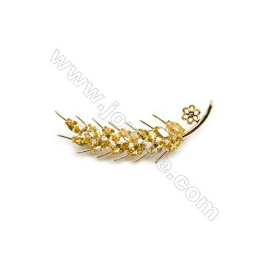 Brass Micro Pave Cubic Zirconia Brooch  Golden  Spike  59x18mm  Tray 6mm  Pin 0.9mm  x1pc can inlay half-drilled beads