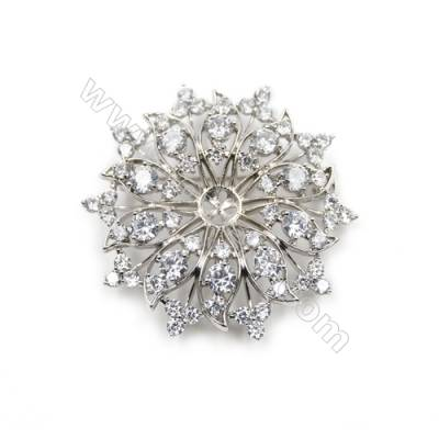 Brass Micro Pave Cubic Zirconia Brooch  White Gold  47x49mm  Tray 7mm  Pin 0.7mm  x1pc can inlay half-drilled beads