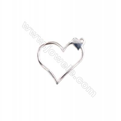 Sterling silver findings heart shape charms  20x19x1.2mm  hole 1.2mm 20pcs/pack