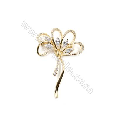 Brass Micro Pave Cubic Zirconia Brooch  Golden  Flower  59x40mm  Tray 6mm  Pin 0.9mm  x1pc can inlay half-drilled beads