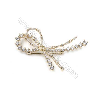 Brass Micro Pave Cubic Zirconia Brooch  Golden  Bowknot  69x39mm  Tray 5mm  Pin 1.2mm  x1pc can inlay half-drilled beads